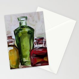Still life, oil bottles, art, original painting Stationery Cards