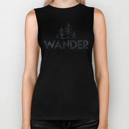 WANDER Forest Trees Black and White Biker Tank