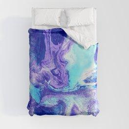 Swirling Marble in Aqua, Purple & Royal Blue Duvet Cover