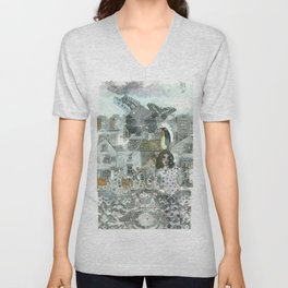 """""""A Woman in the Old Town"""" Unisex V-Neck"""