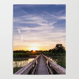 Sun Rays Over the Horizon Poster