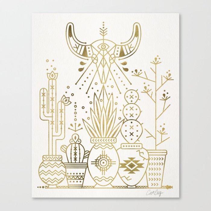 Canvas Santa Fe >> Santa Fe Garden Gold Ink Canvas Print