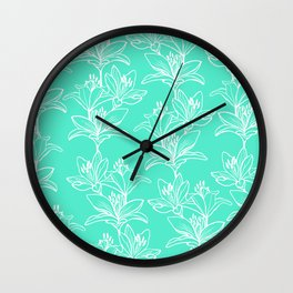 Lily Love in Mint Wall Clock