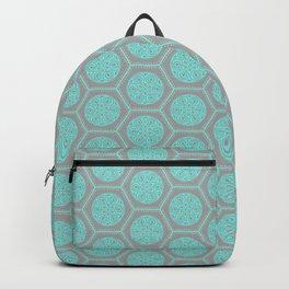 Hexagonal Dreams - Grey & Turquoise Backpack