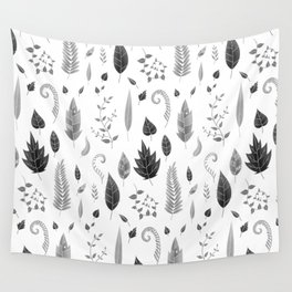 Leaves Black and White Wall Tapestry