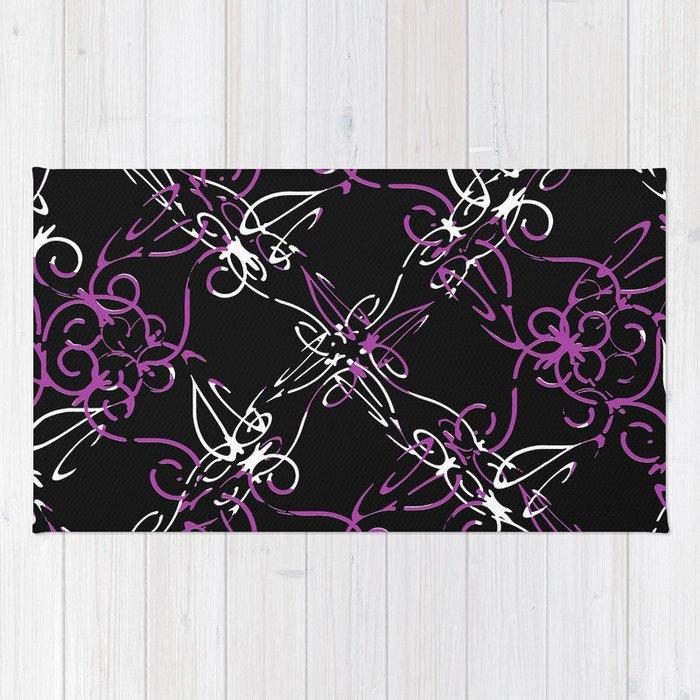 Dark Vintage Lace Pattern Rug
