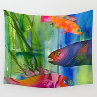 hippy Wall Tapestries featuring Hippy fish by ariesmoon