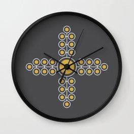 Minimalist Flowers Cross Pattern (Spicy Mustard, Charcoal Black) Wall Clock