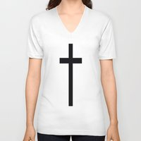 cross V-neck T-shirts featuring CROSS by I Love Decor