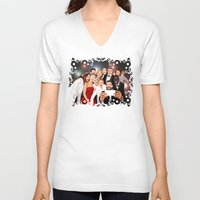 cartoons V-neck T-shirts featuring Cute Celebrity Selfie Photo Cartoons iPhone 4 4s 5 5s 5c, ipod, ipad, pillow case and tshirt by Three Second