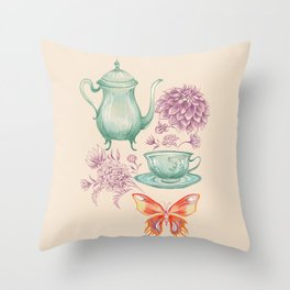 Tea with Butterfly Throw Pillow