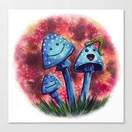 Happy Blue Mushrooms Canvas Print