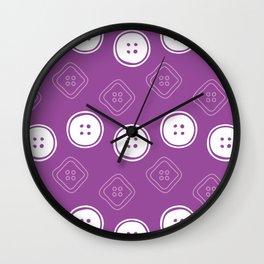 Polka Buttons Purple Wall Clock