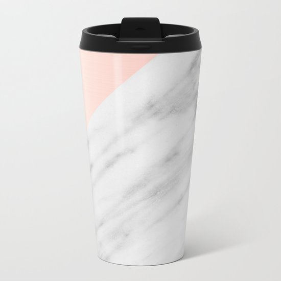 Real Carrara Italian Marble and Pink Metal Travel Mug