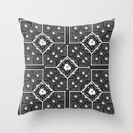 Cherokee Rose Pattern 1 black gray white Throw Pillow