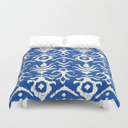 Blue Ikat Damask Print Duvet Cover