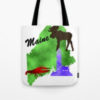 maine Tote Bags featuring Maine by Nova Jarvis