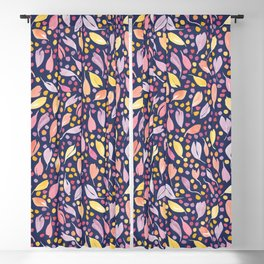 Leaves and Dots   Purple, Peach and Navy Blackout Curtain