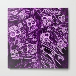 Mosaic of Owls V2 Purple Metal Print