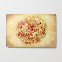 vintage digital graphics flower Metal Print