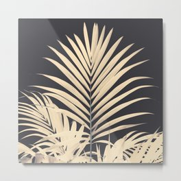 Inverted Vision | White sepia palm tree leaf photography on grey black Metal Print