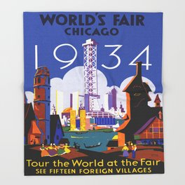 1934 Chicago World's Fair Travel Poster Throw Blanket