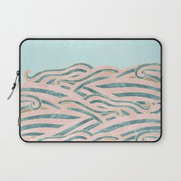 Venetian Waves // Vintage Abstract Pink Blue and Gold Summer Illustration Digital Beach Wall Decor Laptop Sleeve