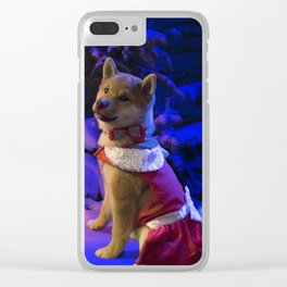 Shiba Inu Chistmas Tree Clear iPhone Case