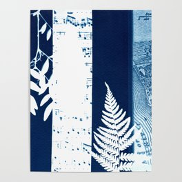 Fragments of the Past (26), art print, collage, blue print, cyanotype print, wall art, wall decor Poster