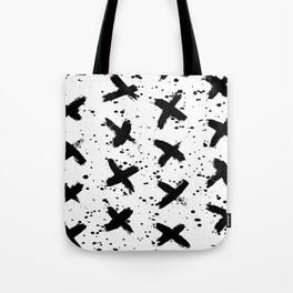 X Paint Spatter Black and White Tote Bag