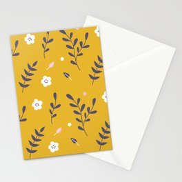 Mustard Floral Pattern Stationery Cards