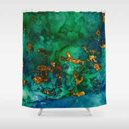 Emerald And Blue Glitter Marble Shower Curtain
