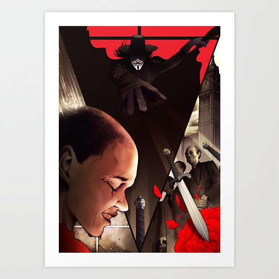 V (For Vendetta) Art Print