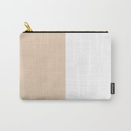 White and Pastel Brown Vertical Halves Carry-All Pouch