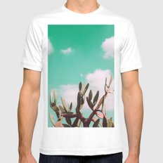 Vintage cactus life MEDIUM Mens Fitted Tee White