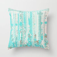 knitting Throw Pillows featuring Feminine Knitting by Jessielee