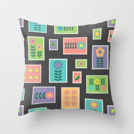 Hygge style colorful postage stamps Throw Pillow