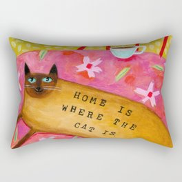 Siamese Cat HOME IS WHERE THE CAT IS Rectangular Pillow