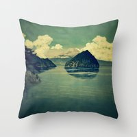 blues Throw Pillows featuring Distant Blues by Kijiermono
