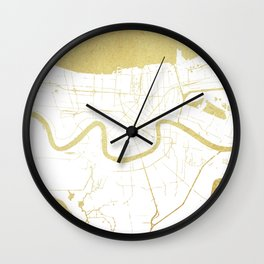 New Orleans White and Gold Map Wall Clock
