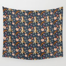 Fox and flowers Wall Tapestry