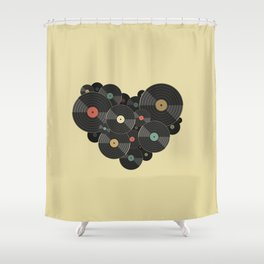 Heart of a Vinyl Lover Shower Curtain