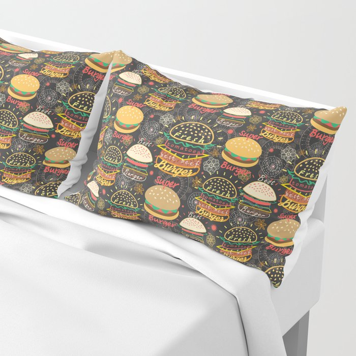 Graphic seamless pattern bright tasty burgers on a dark background Pillow Sham
