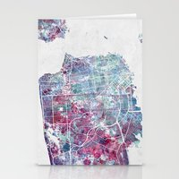 san francisco map Stationery Cards featuring San Francisco map by MapMapMaps.Watercolors