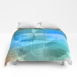 Blue Beach Abstract Watercolor Comforters