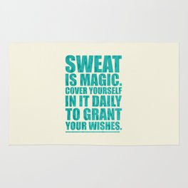 Lab No. 4 - Sweat Is Magic Cover Yourself In It Daily Gym Inspirational Quotes Poster Rug
