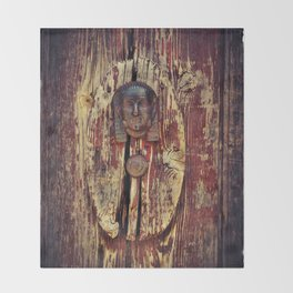weathered wooden door with agypt door knocker Throw Blanket