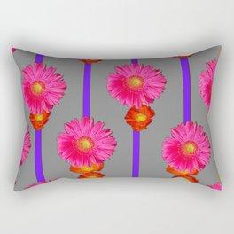 Grey Color & Pink Gerber Flowers Pattern Rectangular Pillow