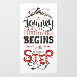 lettring quote journey Art Print