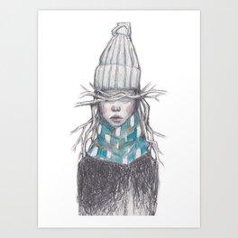Winter Girl (Blue) Art Print